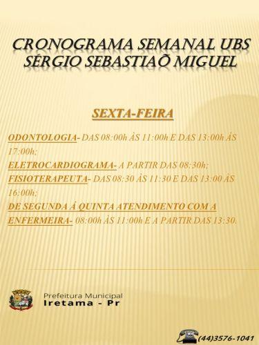 UBS Sergio Miguel - Cronograma de atendimento Semanal