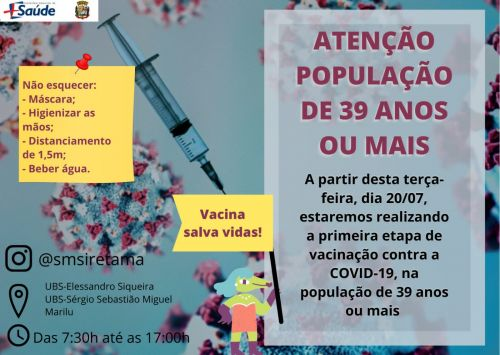 Vacinação 39 anos ou mais fácil