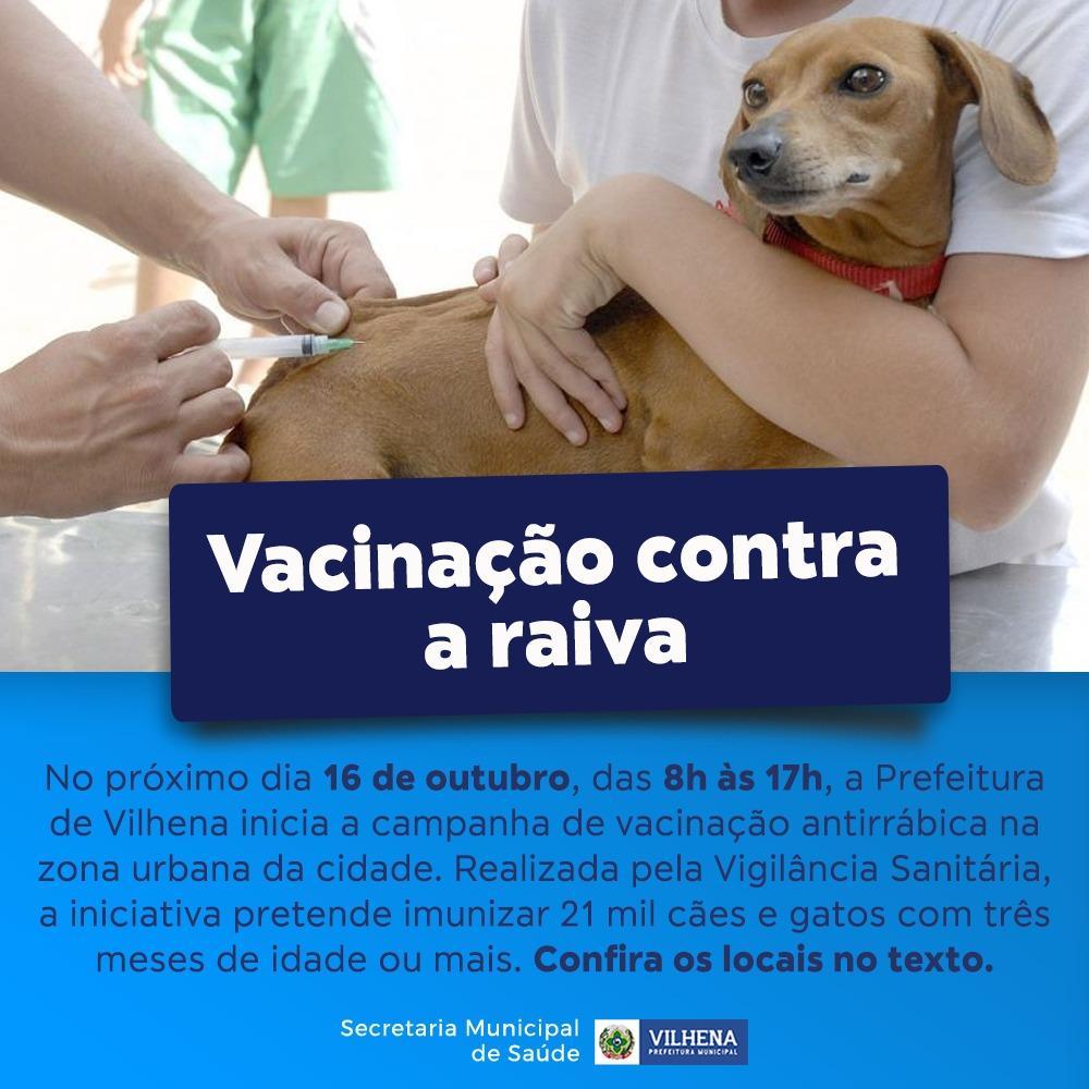 Vacinação contra raiva acontece em 16 de outubro na cidade, veja locais e horário