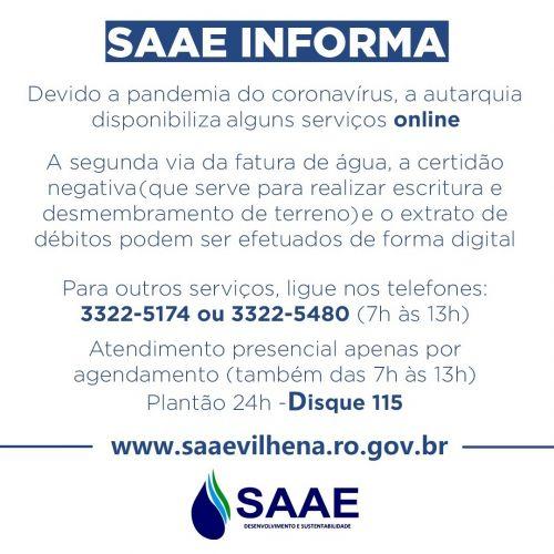 A FIM DE EVITAR AGLOMERAÇÕES, Saae toma medidas de prevenção ao coronavírus disponibilizando atendimento online