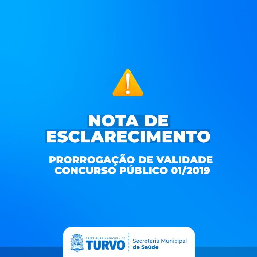 Nota de Esclarecimento: Validade do Concurso Público 01/2019.