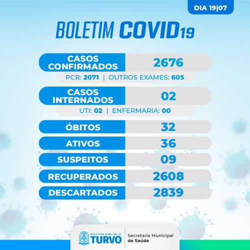 Boletim Oficial Covid-19 | 19 de julho