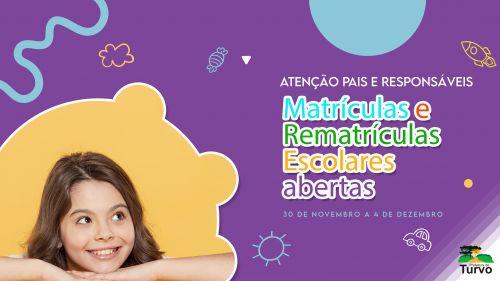 Nesta segunda-feira (30) iniciam as matrículas e rematrículas escolares da rede municipal de ensino