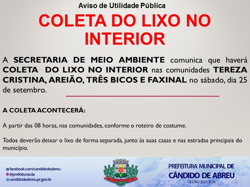 COLETA DE LIXO NAS COMUNIDADES DO INTERIOR