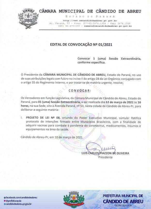 PROJETO DE LEI QUE RATIFICA PROTOCOLO DE INTENÇÕES PARA ADQUIRIR VACINAS DE COMBATE A PANDEMIA SERÁ VOTADO NESTA SEXTA-FEIRA.