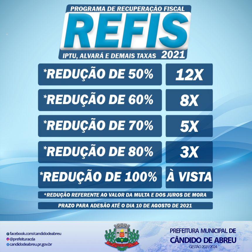 ESTÃO ABERTAS AS INSCRIÇÕES PARA O PROGRAMA DE RECUPERAÇÃO FISCAL - REFIS 2021