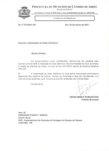 RESPOSTA DA D.E.R  E NOVO PEDIDO PARA SEGURANÇA DOS TRAFEGANTES.