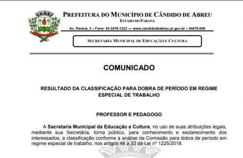 RESULTADO DA CLASSIFICAÇÃO PARA DOBRA DE PERÍODO EM REGIME ESPECIAL DE TRABALHO