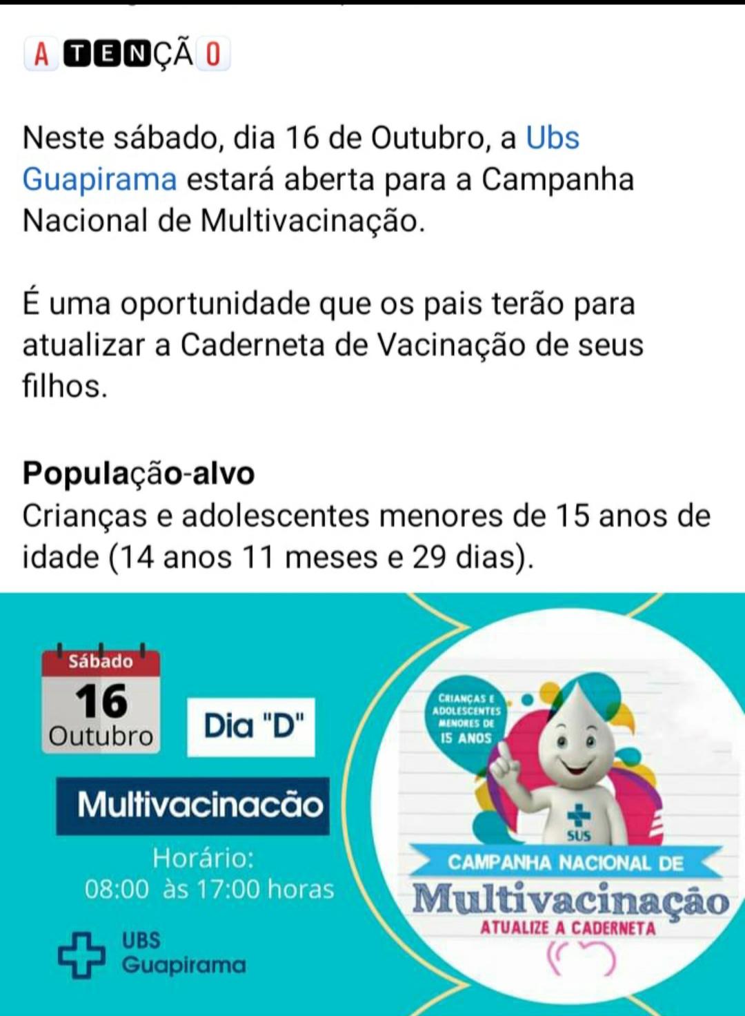 INFORMATIVO SOBRE  A CAMPANHA DE MULTIVACINAÇÃO!