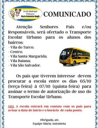 COMUNICADO SOBRE O ÔNIBUS ESCOLAR!