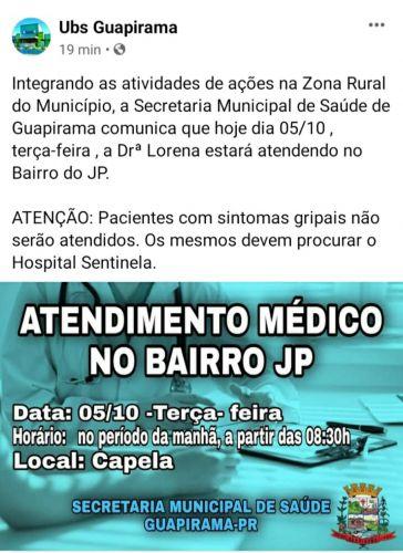 INFORMATIVO SOBRE ATENDIMENTO MÉDICO NO BAIRRO DO JP!