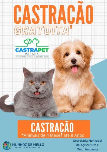 O Programa de Castração Permanente de Esterilização de Cães e Gatos CastraPet Paraná através de Convênio com o Município realizará castração permanente no período de 17 à 20 de setembro de 2021