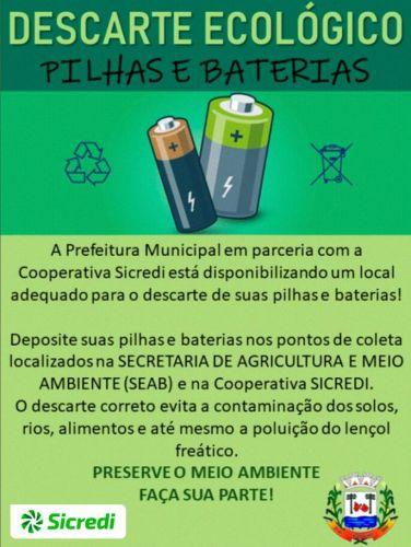 DESCARTE ECOLÓGICO DE PILHAS E BATERIAS.
