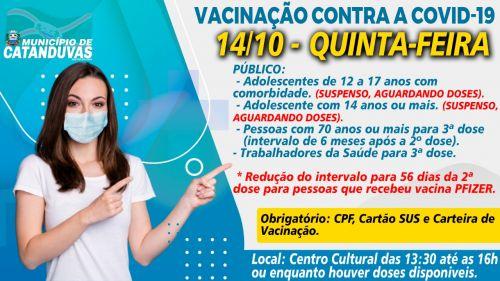 Atenção - Calendário de Vacinação contra a COVID-19, em Catanduvas.