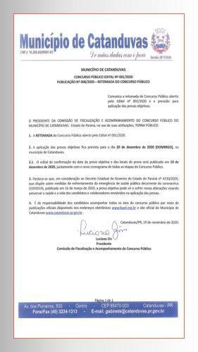 RETOMADA DO CONCURSO PÚBLICO -CATANDUVAS-PR