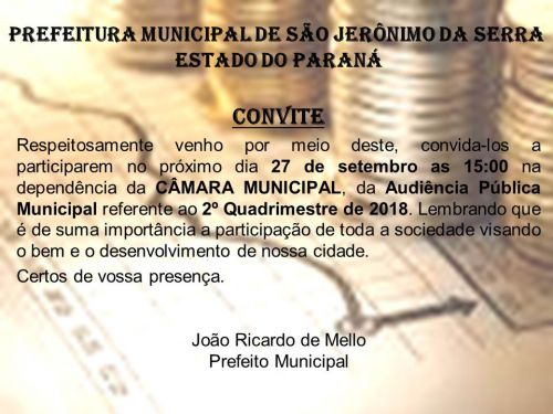 CONVITE PARA AUDIENCIA PUBLICA