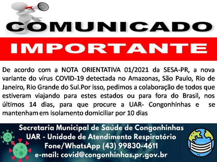 IMPORTANTE: VARIANTE DO COVID-19!