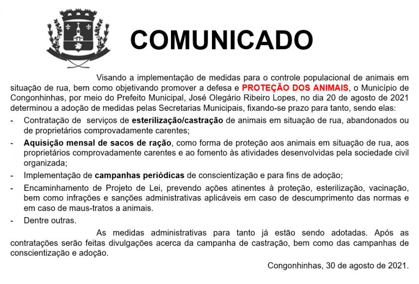 COMUNICADO - POLÍTICAS PÚBLICAS PROTEÇÃO AOS ANIMAIS