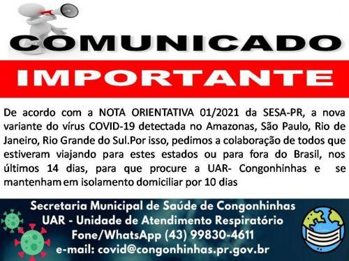 IMPORTANTE: VARIANTE DO COVID-19!