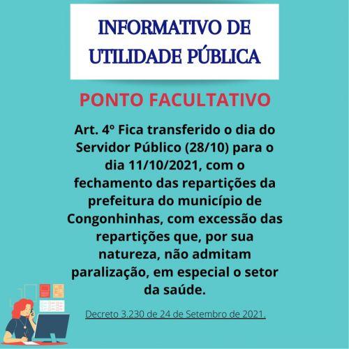 INFORMATIVO PONTO FACULTATIVO 11-10-2021