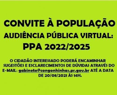 CONVITE AUDIÊNCIA PÚBLICA - PPA 2022/2025