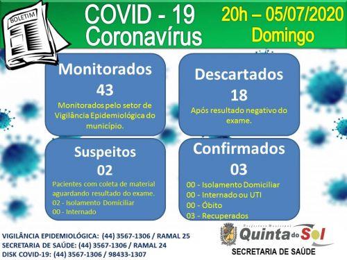BOLETIM INFORMATIVO DIÁRIO 05/07/2020