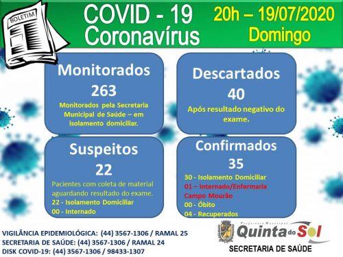 BOLETIM INFORMATIVO DIÁRIO 19/07/2020
