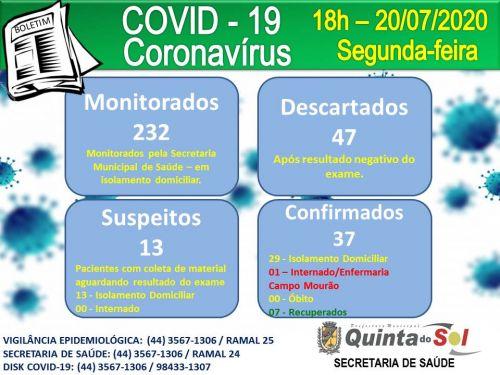 BOLETIM INFORMATIVO DIÁRIO 20/07/2020