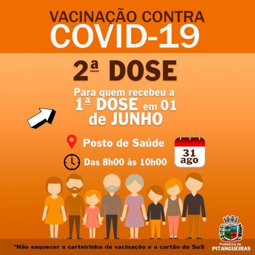 Confria data, horário e grupo que receberá a 2 dose da vacina contra Covid-19