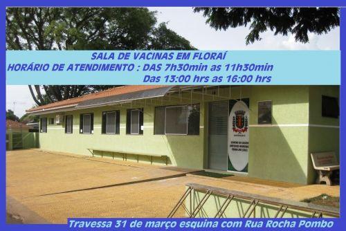 Horário de atendimento na sala de vacina em Florai.