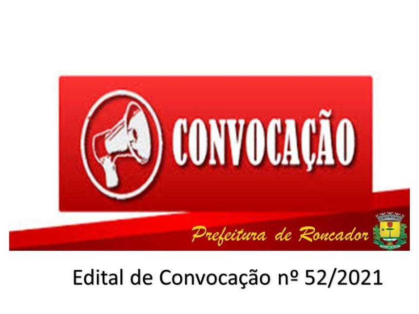 EDITAL DE CONVOCAÇÃO 52/2021: PREFEITURA CONVOCA AGENTE ADMINISTRATIVO DO CONCURSO PÚBLICO