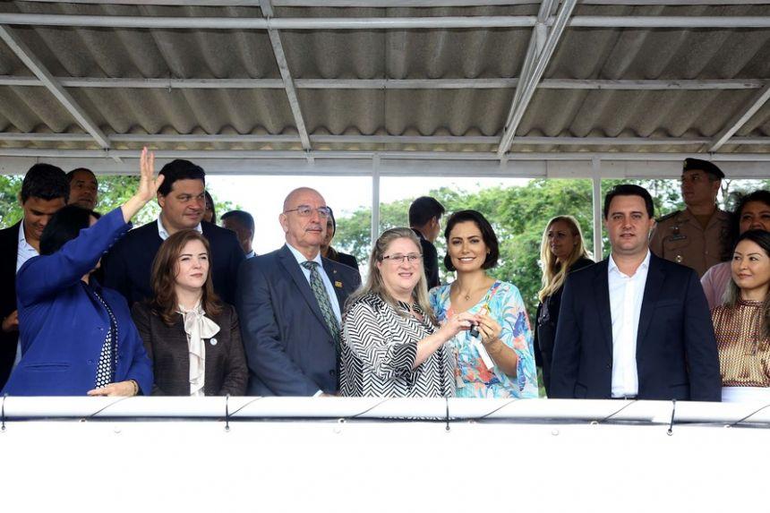 A solenidade contou com a presença da primeira-dama, Michele Bolsonaro, da ministra da Mulher, da família e dos Direitos Humanos, Damares Alves, do ministro Osmar Terra e de várias autoridades como o Governador Carlos Massa Ratinho Junior