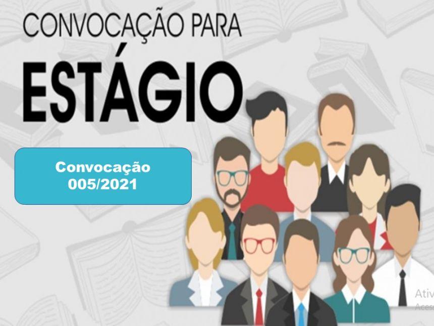 CONVOCAÇÃO 005/2021: PREFEITURA CONVOCA ESTAGIÁRIOS APROVADOS NO PROCESSO SELETIVO