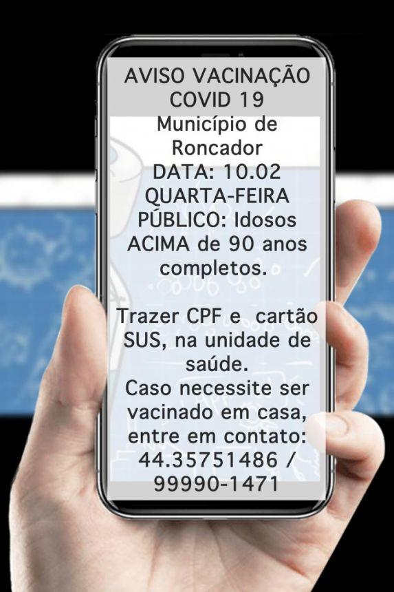 VACINAÇÃO DE IDOSOS ACIMA DE 90 ANOS COMEÇA AMANHÃ EM RONCADOR