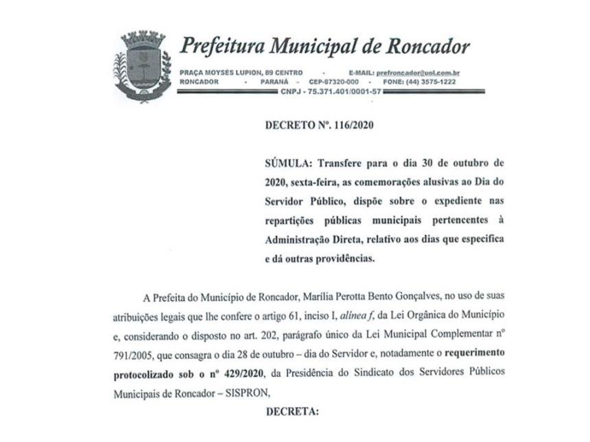 Transferidas para o dia 30/10 as comemorações do Dia do Servidor Público