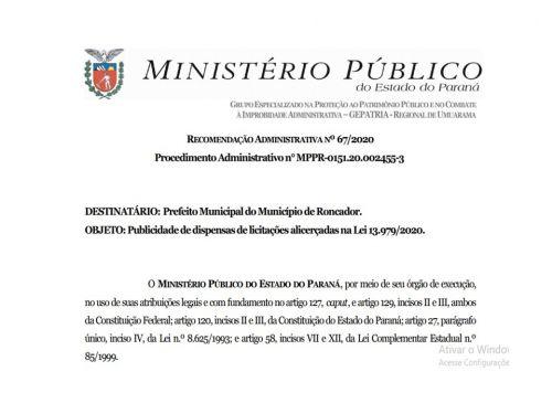 RECOMENDAÇÃO ADMINISTRATIVA Nº 67/2020
