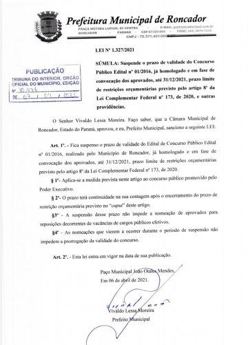 PREFEITURA SUSPENDE PRAZO DE VALIDADE DO CONCURSO PÚBLICO VIGENTE