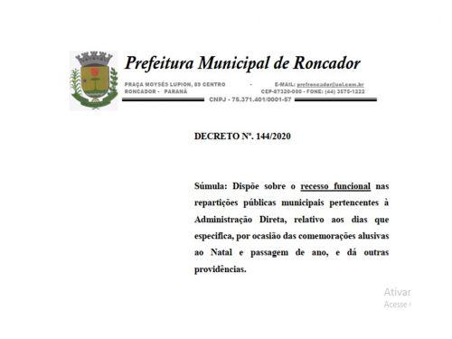 RECESSO FUNCIONAL DAS REPARTIÇÕES PÚBLICAS