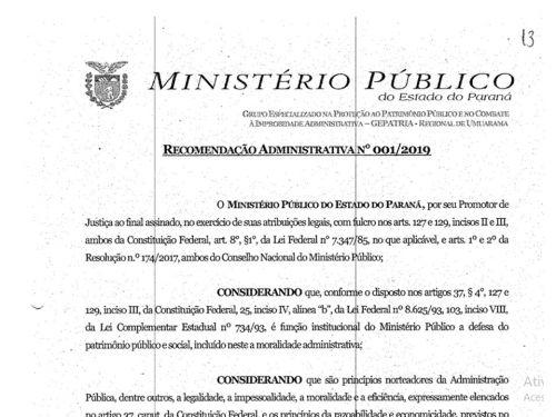 RECOMENDAÇÃO ADMINISTRATIVA 001/2019 - MP/PR - GEPATRIA