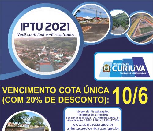IPTU 2021 vence em 10 de Junho