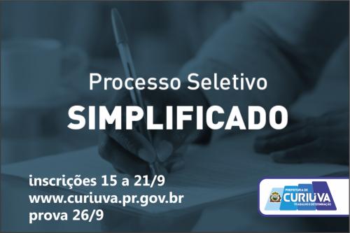 Incrições para Processo Seletivo Simplificado vão de 15 a 21/9