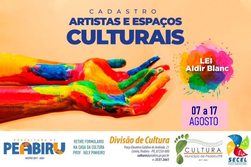 CADASTRO CULTURAL PARA ARTISTAS E ESPAÇOS CULTURAIS -LEI ALDIR BLANC