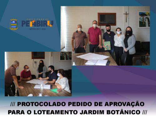 PROTOCOLADO PEDIDO DE APROVAÇÃO PARA O LOTEAMENTO JARDIM BOTÂNICO
