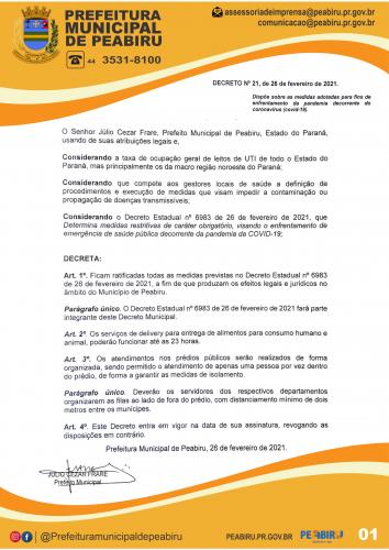 DECRETO MUNICIPAL Nº21 DE 26 DE FEVEREIRO DE 2021