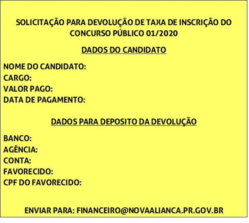 INFORMATIVO DE SOL.  PARA DEVOLUÇÃO DE TAXA DE INSCRIÇÃO DO CONCURSO PUBLICO 01/2020