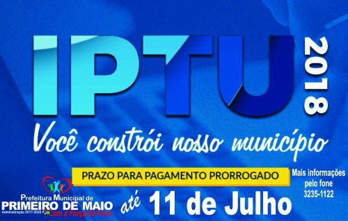 IPTU prorrogado em Primeiro de Maio