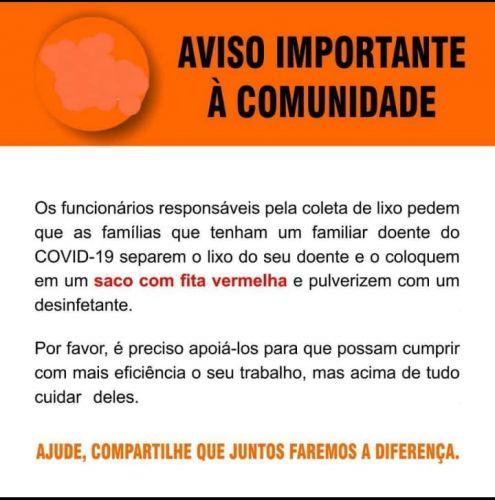 AVISO IMPORTANTE A COMUNIDADE REFERENTE A COLETA DE LIXO