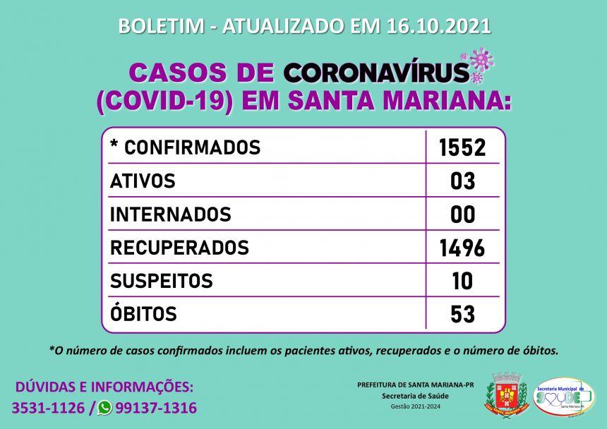 BOLETIM CORONAVÍRUS - 16.10.2021