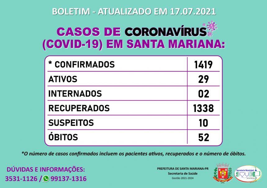 BOLETIM CORONAVÍRUS - 17.07.2021