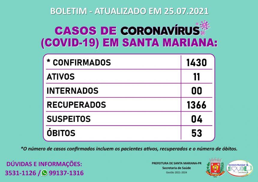 BOLETIM CORONAVÍRUS - 25.07.2021